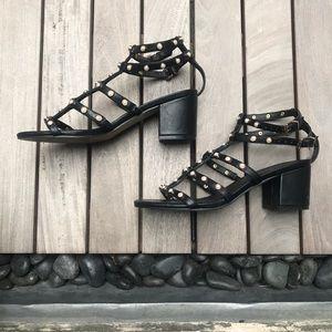 ASOS | Black Pearl Studded Chunky Heel Sandals